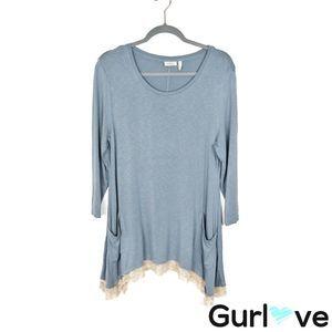 LOGO M Light Blue Long Sleeve Tunic Top
